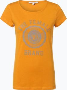 Żółty t-shirt Tom Tailor Denim z okrągłym dekoltem z krótkim rękawem w stylu casual