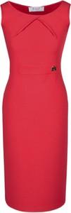 Czerwona sukienka Fokus midi z dzianiny