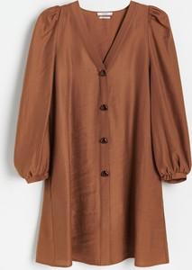 Brązowa sukienka Reserved w stylu casual z długim rękawem