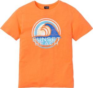 Pomarańczowy t-shirt bonprix bpc bonprix collection z nadrukiem z krótkim rękawem z bawełny