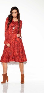Czerwona sukienka Lemoniade w stylu casual midi