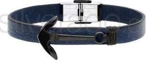 Silverado granatowa bransoletka z kotwicą z czarnym pvd - 77-ba598bf