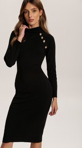 Czarna sukienka Renee z długim rękawem midi