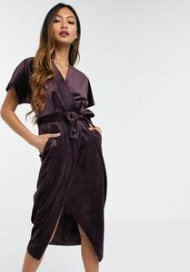 Fioletowa sukienka Closet z dekoltem w kształcie litery v midi
