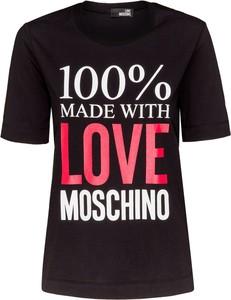 Czarny t-shirt Love Moschino z bawełny z okrągłym dekoltem w młodzieżowym stylu