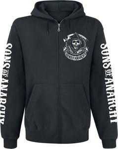 Czarna bluza Sons Of Anarchy w młodzieżowym stylu z bawełny