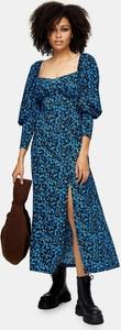 Niebieska sukienka Topshop midi