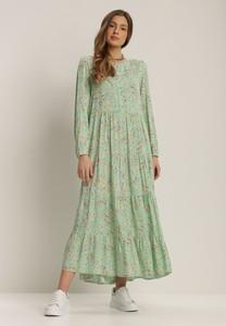 Zielona sukienka Renee z długim rękawem maxi