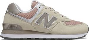 Zielone buty sportowe New Balance z płaską podeszwą sznurowane