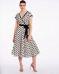 Sukienka POTIS & VERSO z tkaniny z krótkim rękawem wyszczuplająca