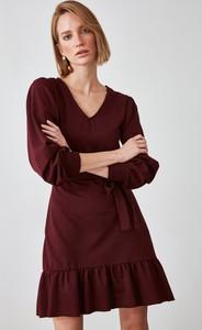 Czerwona sukienka Trendyol z długim rękawem mini