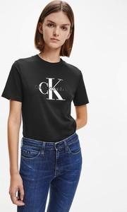 Czarny t-shirt Calvin Klein z krótkim rękawem w młodzieżowym stylu z okrągłym dekoltem