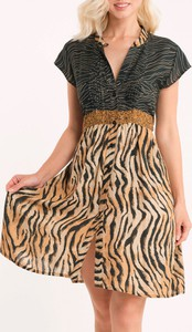 Sukienka Iconique z krótkim rękawem dla puszystych z dekoltem w kształcie litery v