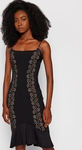 Czarna sukienka Guess na ramiączkach mini z okrągłym dekoltem