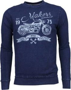 Niebieski sweter ENOS z okrągłym dekoltem