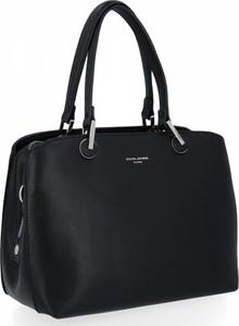 Czarna torebka David Jones w stylu glamour duża na ramię