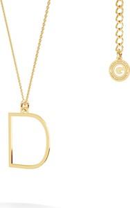 GIORRE Srebrny naszyjnik z literką, alfabet, srebro 925 : Kolor pokrycia srebra - Pokrycie Żółtym 18K Złotem, Litera - D