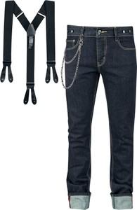 Granatowe jeansy Rock Rebel by EMP w stylu casual z bawełny