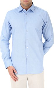 Błękitna koszula Del Siena z klasycznym kołnierzykiem z długim rękawem z bawełny