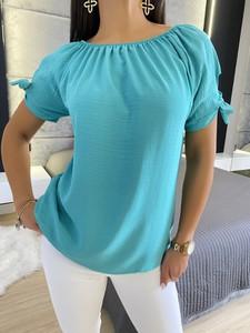 Niebieska bluzka ModnaKiecka.pl w stylu casual
