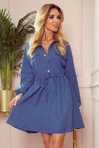 Niebieska sukienka NUMOCO w stylu casual mini z kołnierzykiem