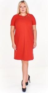 Czerwona sukienka Fokus z krótkim rękawem midi