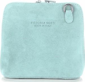 Zielona torebka VITTORIA GOTTI średnia na ramię z zamszu