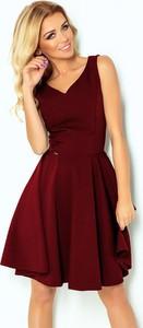 Czerwona sukienka NUMOCO midi z dekoltem w kształcie litery v