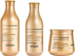 L'Oreal Paris Loreal Absolut Repair Lipidium | Zestaw regenerujący do włosów zniszczonych: szampon 300ml + odżywka 200ml + maska 250ml - Wysyłka w 24H!