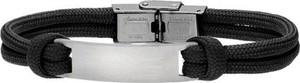Silverado Męska bransoletka z czarnego sznurka, ze stalowÄ blaszkÄ 77-BA702B