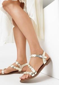 Sandały born2be z klamrami z płaską podeszwą ze skóry