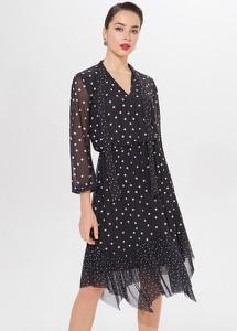 Sukienka Mohito z długim rękawem rozkloszowana z żabotem