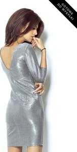Srebrna sukienka Ivon mini z tkaniny