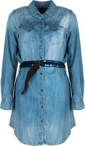 Niebieska sukienka ubierzsie.com z kołnierzykiem mini z długim rękawem