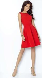 Czerwona sukienka Ivon z dekoltem w łódkę