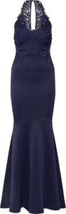 Granatowa sukienka Lipsy z okrągłym dekoltem bez rękawów dopasowana