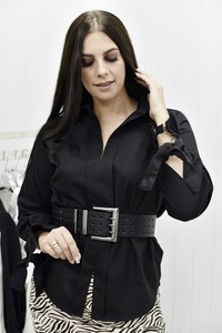 Czarna koszula Fason z bawełny z długim rękawem