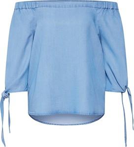 Niebieska bluzka Vero Moda z długim rękawem hiszpanka w stylu casual