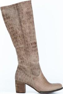 Kozaki Zapato ze skóry na obcasie w stylu boho