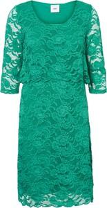 Zielona sukienka Mama Licious z dżerseju z okrągłym dekoltem midi