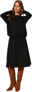Czarna sukienka CAHA z długim rękawem z dzianiny