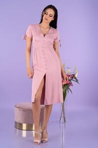 Różowa sukienka MERRIBEL z krótkim rękawem szmizjerka z dekoltem w kształcie litery v