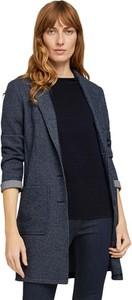 Granatowy płaszcz Tom Tailor w stylu casual bez kaptura krótki