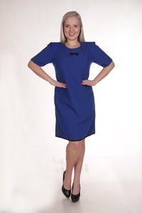 Niebieska sukienka Fokus w stylu casual trapezowa z bawełny
