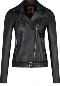 Czarna kurtka Trussardi Jeans w rockowym stylu ze skóry krótka