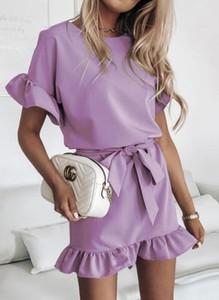 Fioletowa sukienka Cikelly w stylu casual z okrągłym dekoltem z krótkim rękawem