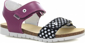 Fioletowe buty dziecięce letnie Wojas ze skóry