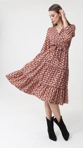 Sukienka born2be z długim rękawem w stylu casual midi