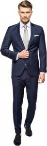 Niebieski garnitur Recman z wełny