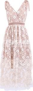 Różowa sukienka Self Portrait z dekoltem w kształcie litery v